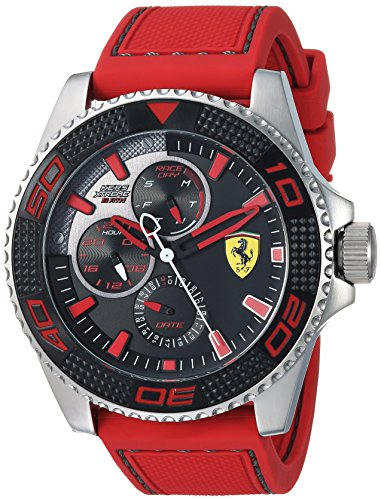 Ferrari Men's 'KERS Xtreme' Quartz Stainless Steel and Silicone Casual Watch, Color:red (Model: 0830469)