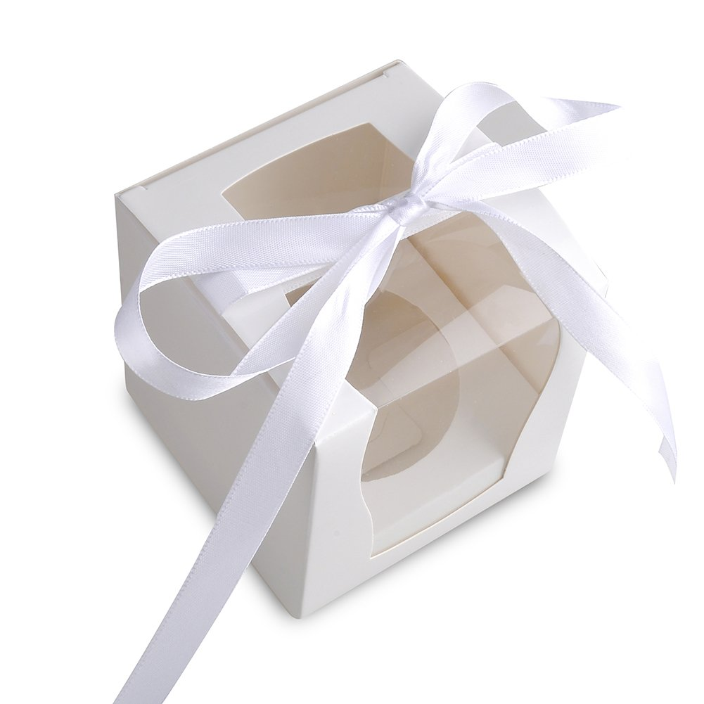 Paper Cupcake Favor Boxes with Window, 3.5 inch Square, Pack of 12 (White) Weksi