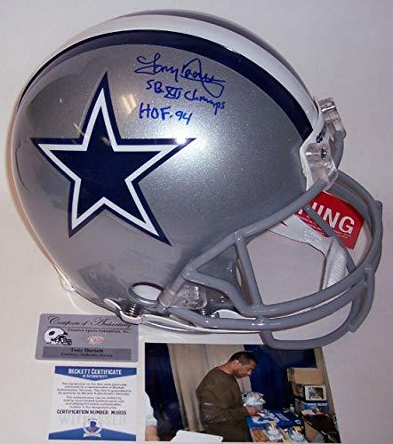 Tony Dorsett - Autographed Official Full Size Riddell Authentic Proline Football Helmet - Dallas Cowboys - BAS Beckett