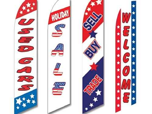4 Swooper Flags Used Cars Auto Dealer Sale Sell Buy Trade Patriotic American ()