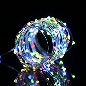 TryLight Outdoor String Lights, 33ft 100 LED Waterproof Battery Powered Starry Fairy String Lights for Garden,Christmas Tree, Parties, with Remote Control 8 Lighting Modes