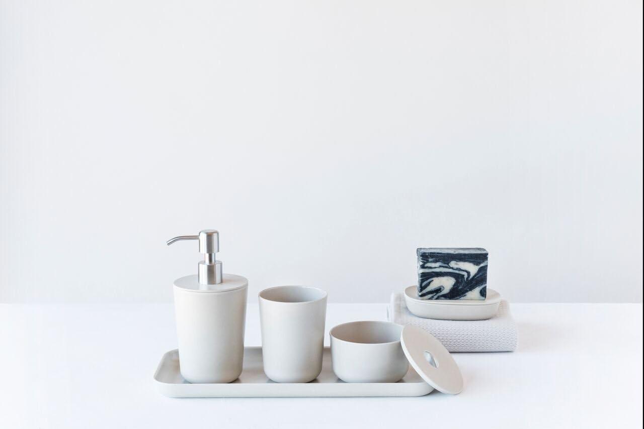 19/x 19/x 23,5/cm Bianco in bamb/ù BIOBU by EKOBO 36875/Bano 4/Pezzi Set per Bagno