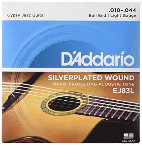 Ten Guitar String (D'Addario EJ83L Gypsy Jazz Acoustic Guitar Strings, Ball End, Light, 10-44)