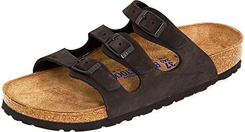 Birkenstock Women's Florida Soft Footbed Black Nubuck Sandal 41 R (US Women's 10-10.5) ()