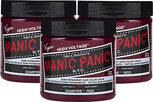 Manic Panic Vampire Red Hair Dye Classic High Voltage 3pk Semi Permanent Hair Color Deep Blood