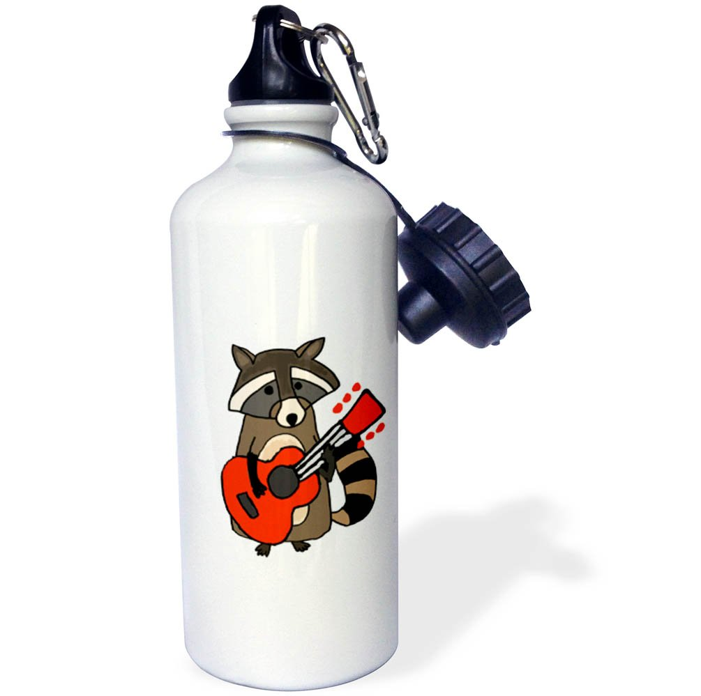 3dRose All Smiles Art Music wb/_256424/_1 Funny Cute Raccoon Playing Guitar Cartoon 21 oz Sports Water Bottle