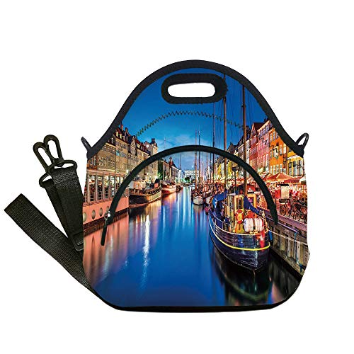 Insulated Lunch Bag,Neoprene Lunch Tote Bags,Urban,Entertainment District Denmark Nyhavn Canal Copenhagen River Boats Shops Attraction,Multicolor,for Adults and children for $<!--$19.99-->