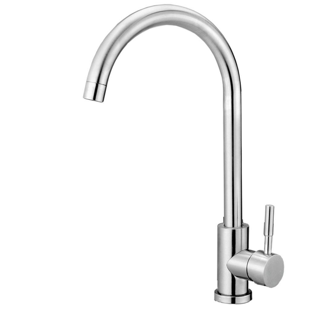 B DYR Faucet 304 stainless steel faucet sink hot and cold water faucet unleaded sink faucet brushed redary tap (color  b)