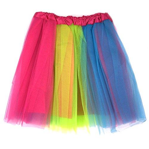 Tapp C. Women's Classic Elastic, 4-layered Tulle Tutu Skirt - Rainbow (Rainbow Tutu Adult)