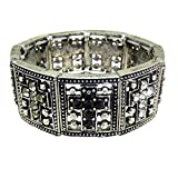 KIS-Jewelry Crystal Cross Stretch Bracelet, Silver Plated - This Trendy Bracelet Has 9 Alternating Jet Black & Clear Crystal Crosses with Antiquedd Silver Plated - The Perfect Faith Statement Gift