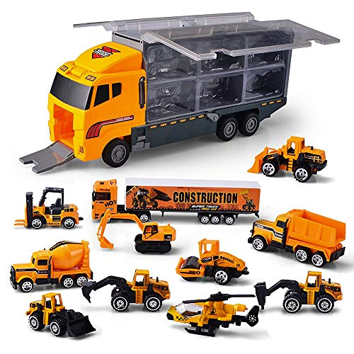 Construction Truck Vehicle Car Toy Carrier 11 in 1 Playset Truck Car Helicopter Diecast Toy Vehicles Learning Toys for Kids ()