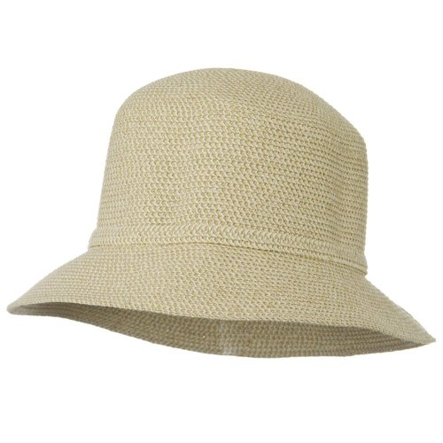(Jeanne Simmons UPF 50+ Cotton Paper Braid Self Tie Hat - White Tweed)