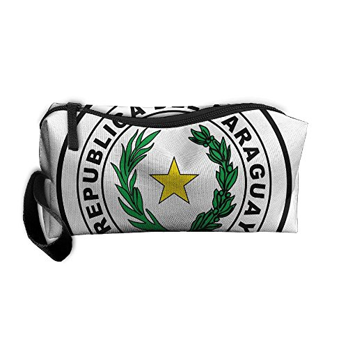 HSs4AD Coat Of Arms Of Paraguay Cosmetic Bag Travel Toiletry Bag Portable Makeup Pouch Hanging Organizer Bag