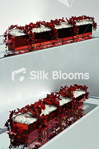 Huge Red Mirror Ivory Roses Red Orchids Long Low Arrangement by Silk Blooms Ltd