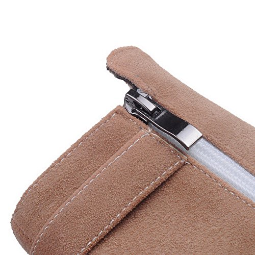 Imitiert Solide runde Heels Wildleder Geschlossene Reißverschluss Frauen AgooLar Aprikose Stiefel High Zehe R0naOwSUq