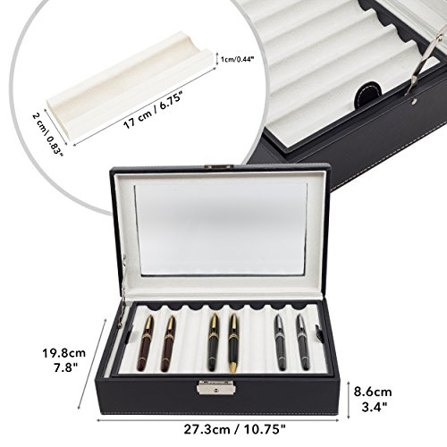 Elegant 16 Piece Black Leatherette Pen Display Case Storage and Fountain Pen Collector Organizer Box with Glass Window by TimelyBuys (Image #2)