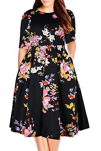 Nemidor Womens Vintage 1950s Half Sleeve Floral Print Cocktail Plus Size Swing Dress