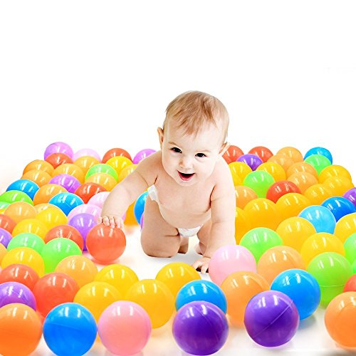 2017 Multicoloured Ball Pit Balls Pack of 100 BPA Free Phthalate Free Crush Proof Plastic Play Balls Great for Tent Playhouse Kiddie Pool Playpen and Bounce House