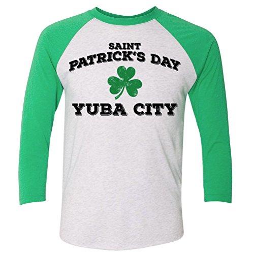 ShirtScope ST Patrick's Day Yuba City CA Baseball Raglan Shirt - Yuba Ca City