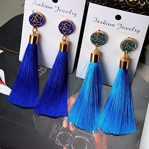CUHAWUDBA Boucles DOreilles Longues Pour Femmes Boucle DOreille Ethnique Suspendu De Grand Pompon Boh/émien Bleu Roi