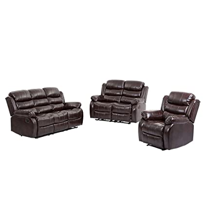 BestMassage Living Room Set,Loveseat Chaise Reclining Couch,Recliner Sofa  Chair Leather Accent Chair