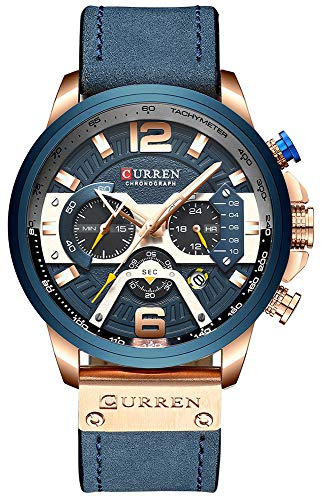 CURREN New Fashion Mens Watch Leather Luxury Brand Sports and Leisure Quartz Chronograph Waterproof Watch (Rose Gold Blue)