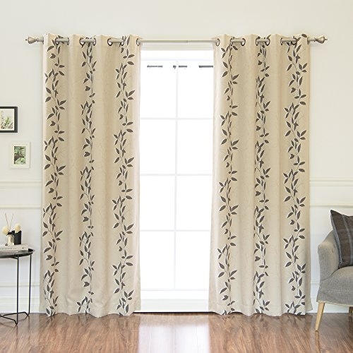 Best Home Fashion Leaf Print Thermal Insulated Blackout Curtains - Antique Bronze Grommet Top - Beige - 52