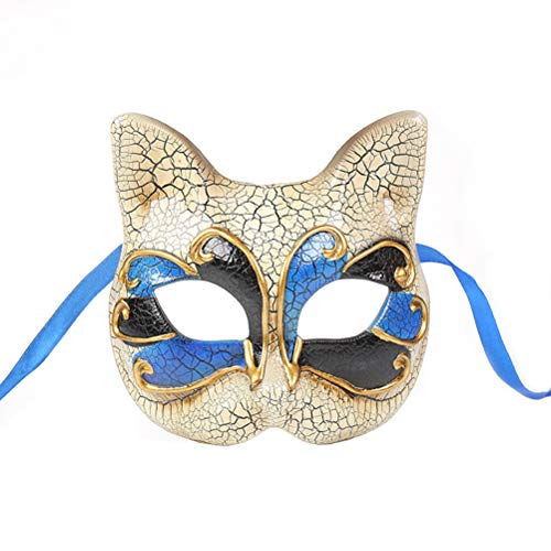 Amosfun Cat Mask Kitten Mask Halloween Mask for Cat Party Kitty Party Kids Costumes Photo Prop Dress Up Halloween Kids Makeup Party Mask Crack Half Face Masquerade Mask]()