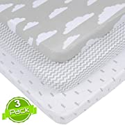 BaeBae Goods Jersey Cotton Fitted Pack n Play Playard Portable Crib Sheets Set   Grey and White CLOUDS   150 GSM   100% Cotton   3 Pack