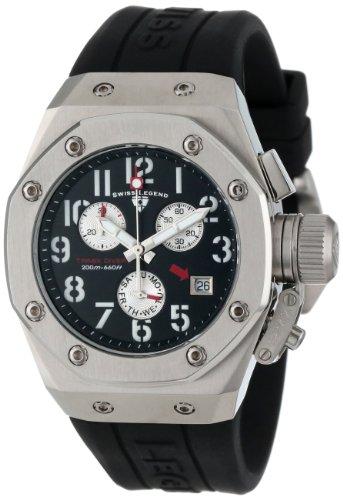 Swiss Legend Women's 10535-01 Trimix Diver Chronograph Black Dial Black Silicone Watch