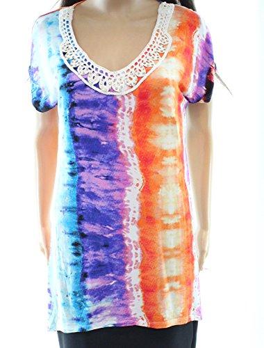 Olivia Lace Trim (Thomas & Olivia Women's Small Tie Dye Lace Trim Blouse White S)