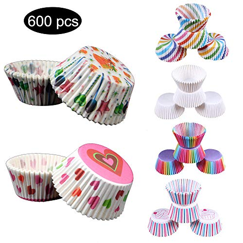 (Standard Baking Cups, Cupcake Case Liners Baking Muffin Paper Cases For Wedding Party Birthday Party 600 Pcs/set,6 kinds of design )