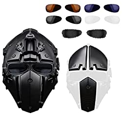 Hunting Explorer Robot Full Head Helmet For Tactical Necessary Or Riding(Steel Mesh/Blue/Black Goggles)