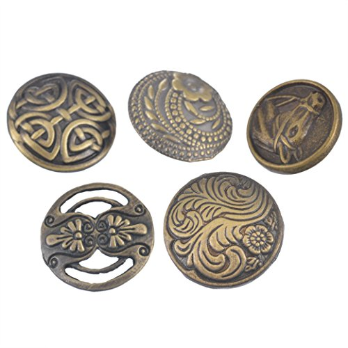 Souarts Pack of 50pcs Mixed Antique Bronze Color Round Hollow Metal Buttons