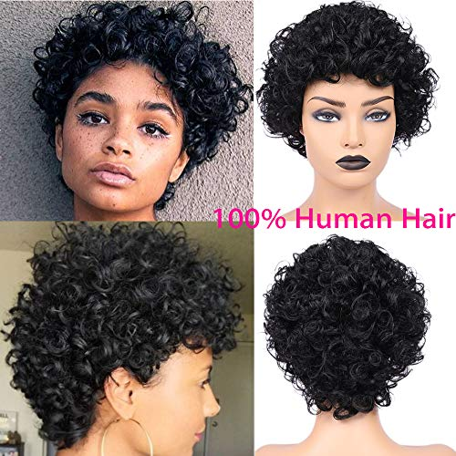 Short Afro Kinky Curly Hair Wig Human Hair Wigs Natural Looking Brazilian Virgin Wig with Free Cap African Fluffy Curly Wig for Black Women 4inch -