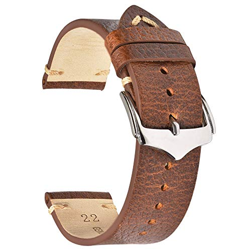 Leather Watch Band 22mm for Men for Women EACHE Leather Watch Strap Discolored Litchi Grain Genuine Leather Replacement Watch Band Light Brown Silver Buckle