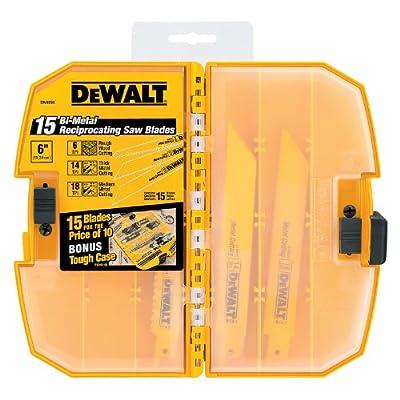 DEWALT DW4890 Bi-Metal Reciprocating Saw Blade Tough Case Set, 15-Piece by DEWALT