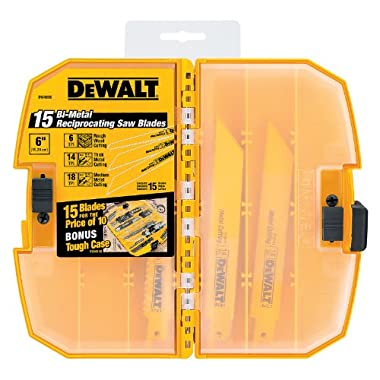 DEWALT DW4890 Bi-Metal Reciprocating Saw Blade Tough Case Set, 15-Piece