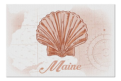 Maine - Scallop Shell - Coral - Coastal Icon (20x30 Premium 1000 Piece Jigsaw Puzzle, Made in USA!)