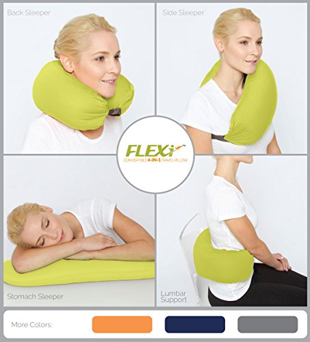 The Original FLEXi 4-in-1 Convertible Travel Pillow for Side, Stomach (Flexi Acrylic)