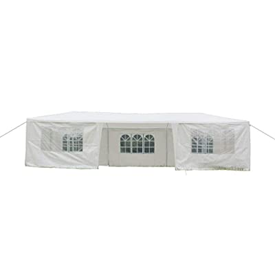 Cypress Shop Canopy Tent Marquees Gazebo Tent Outdoor Heavy Duty Pavilion Garden Structure Sun Shelters 10x30 Feet Shade Yard Living Party Wedding BBQ Barbecue Garden White (with 7 Side Walls) : Garden & Outdoor