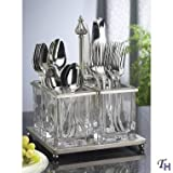 METAL AND GLASS FLATWARE CADDY