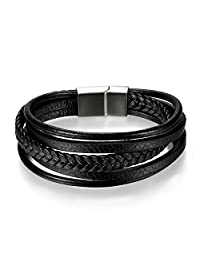 Oidea Mens Womens Multi Leather Braided Bracelet Stainless Steel Magnetic Clasp Cuff Bangle Bracelet,8.3 Inch