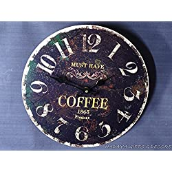 13 inch Round coffee themed wall clock, dark noir look , coffee design in the middle of the dial