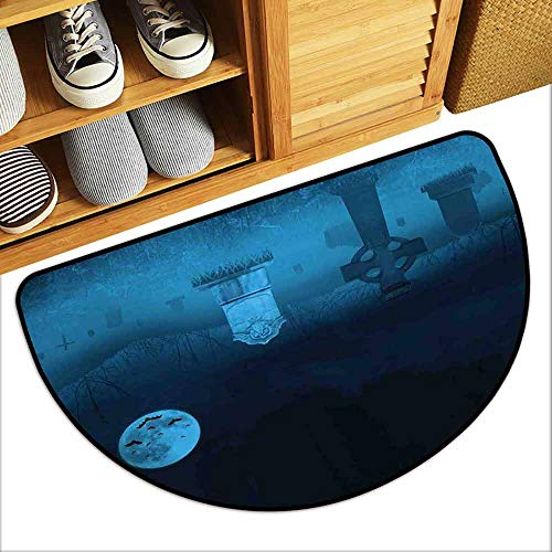 DILITECK Washable Doormat Gothic Ghostly Graveyard Illustration Horror Halloween Dead Danger Theme Full Moon Bat Mystery Machine wash/Non-Slip W30 xL18 Blue