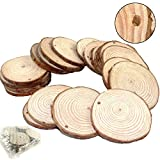 Goodlucky 50pcs 2''-2.5'' Unfinished Predrilled Natural Wood Slices