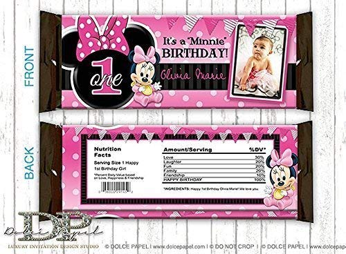 Peel-n-Stick 10 Black and Pink MINNIE MOUSE 1st Birthday Party Polka Dot Water Bottle Labels