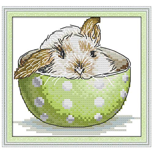 cici store DIY Counted Cross Stitch Kits-Bunny in The Teacup (16×15Cm),Adults Handmade Needlework Embroidery Set for Wall - Needlepoint Bunny