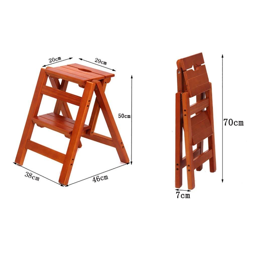 Une  MJY Marchepied bois massif en bois massif Escalier Chaise échelle de ménage Deux marches Multifonction Intérieur Montez les escabeaux de petite échelle,UNE,