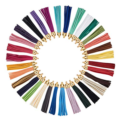 - PandaHall Elite 32 Pcs Faux Suede Leather Tassel Pendants Decorations with Golden End Caps for Key Chain Cellphone Straps DIY Jewelry Accessories 32 Colors